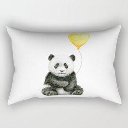 Panda with Yellow Balloon Baby Animal Watercolor Nursery Art Rectangular Pillow