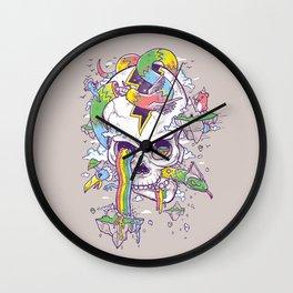 Flying Rainbow skull Island Wall Clock