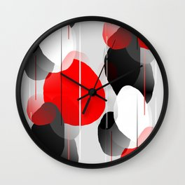 Modern Anxiety Abstract - Red, Black, Gray Wall Clock