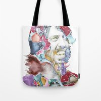 dave matthews Tote Bags featuring Dave Grohl by Bethan Eastwood
