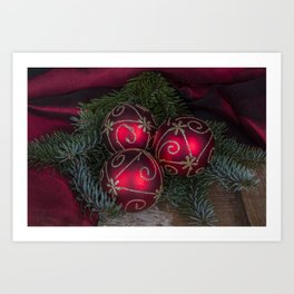 Red Christmas Balls Art Print