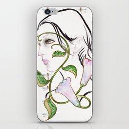 Floral portrait iPhone Skin