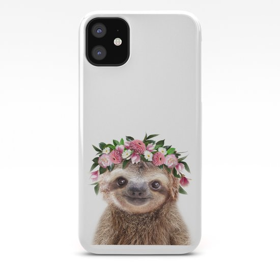 Baby Sloth With Flower Crown, Baby Animals Art Print By Synplus by synplus