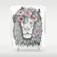 lion king Shower Curtains featuring Lion King by Sorasoraya