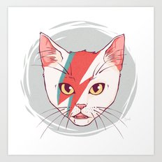 David Bowie Cat Art Print