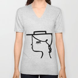 A Girl with A Hat Unisex V-Neck