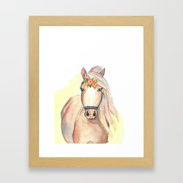 Horse watercolor floral Framed Art Print