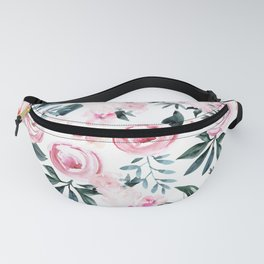 Floral Rose Watercolor Flower Pattern Fanny Pack