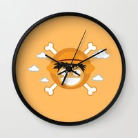 luffy Wall Clocks featuring Captain Monkey D. Luffy by ARI RIZKI