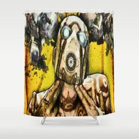 borderlands Shower Curtains featuring Borderlands Psycho by Joe Misrasi