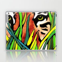 Tiger Eyes Looking Through Tall Grass By annmariescreations Laptop & iPad Skin