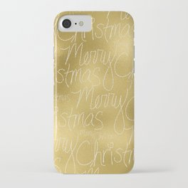 Merry christmas- christmas typography on gold pattern iPhone Case