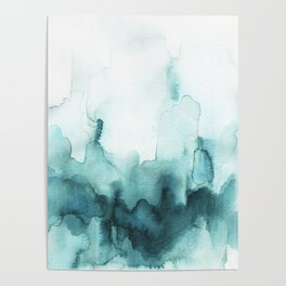 Soft teal abstract watercolor Poster