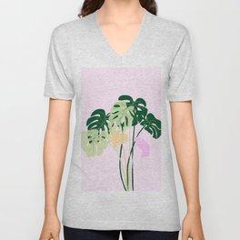 monstera plant on pink background Unisex V-Neck