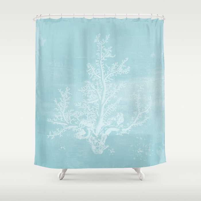 White Coral On Pale Blue Shower Curtain By Studio38103