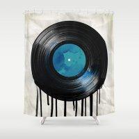 vinyl Shower Curtains featuring vinyl drip by Vin Zzep
