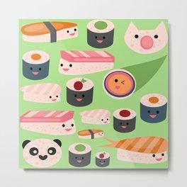 Kawaii sushi green Metal Print