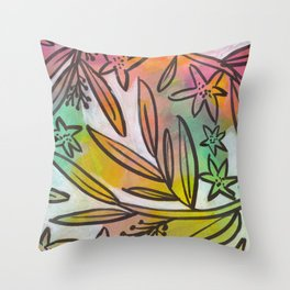 Bright Colorful Jungle Canopy Throw Pillow