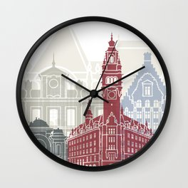Lille skyline poster Wall Clock