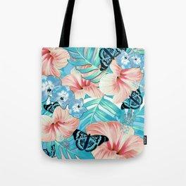 Tropical Spring Aqua Tote Bag