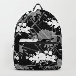 Geometrical modern black white floral pattern Backpack
