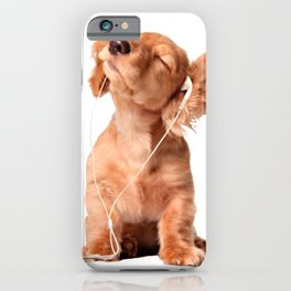Young Puppy Listening to Music on Headphones iPhone Case