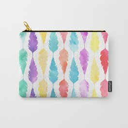 Artistic pink teal watercolor modern feathers Carry-All Pouch