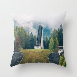 Olympic ski jump in Cortina Throw Pillow