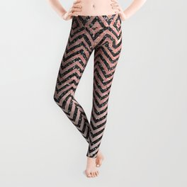Chic modern black pink faux glitter chevron pattern Leggings