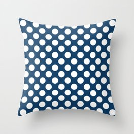 Polka Dots, Spots (Dotted Pattern) - Navy Blue Throw Pillow