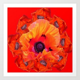 MODERN  RED-ORANGE POPPY FLOWERS  PATTERNS Art Print