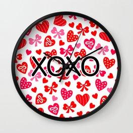Valentine XOXO Red Hearts and Bows Wall Clock