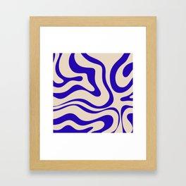 Modern Liquid Swirl Abstract Pattern Square in Cobalt Blue Framed Art Print
