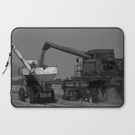 Black & White Rice Harvest Pencil Drawing Photo Laptop Sleeve
