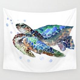 Sea Turtle, Green Blue, sea turtle under water, sky blue Wall Tapestry