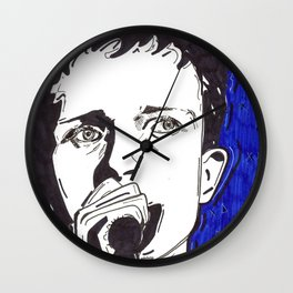 Ian Curtis in blue Wall Clock