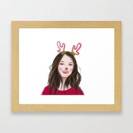 Christmas girl Framed Art Print