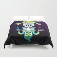 skeleton Duvet Covers featuring Skeleton by Matej