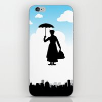 mary poppins iPhone & iPod Skins featuring mary poppins by notbook