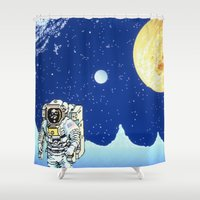 astronaut Shower Curtains featuring Astronaut   by Spirit Tooth
