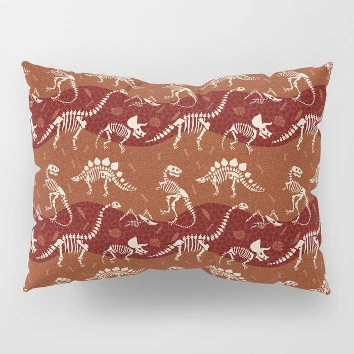 Dinosaur Fossil Pattern in Warm Hues Pillow Sham