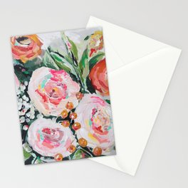 Boho pink and orange floral bouquet Stationery Cards