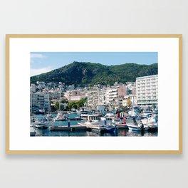 greek seaside town Framed Art Print