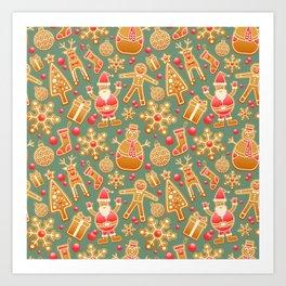 Christmas Green Gingerbread Man Pattern Art Print