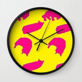 Sleeping cats pink on yellow Wall Clock