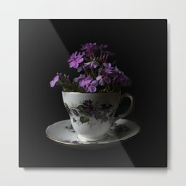 Botanical Tea Cup Metal Print
