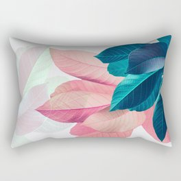 Pink and Blue Leaf Rectangular Pillow