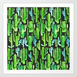 cactus on black pattern Art Print