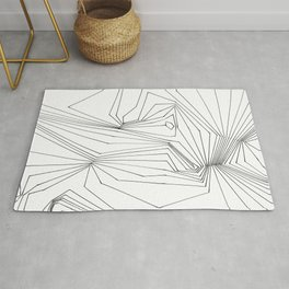 Confinement   Black Ink on White Geometric Drawing Rug