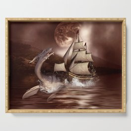 Awesome seadragon with ship Serving Tray